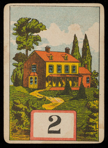 Picture card, red and yellow house, location unknown, undated
