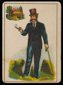 Picture card, man with a cigar and a walking stick, house in the background, location unknown, undated