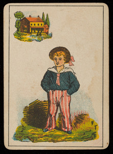 Picture card, cabin boy, house in the background, location unknown, undated
