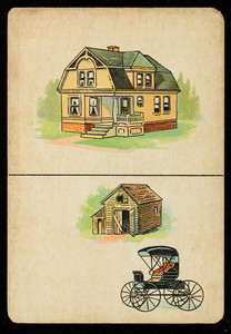 Picture card, house, barn, buggy, location unknown, undated