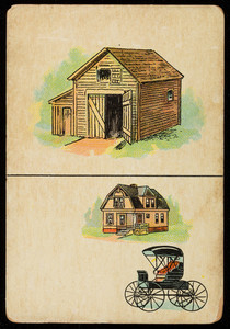Picture card, barn, house, buggy, location unknown, undated