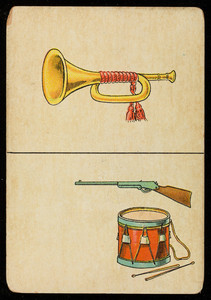 Picture card, bugle, rifle, drum, location unknown, undated