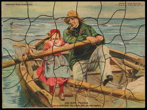 "Jig saw puzzle card of ""The helping hand,"" by Emile Renouf, J.V. Sloan & Co., 213 W. 26th Street, New York, New York, undated"