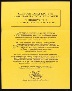 Cape Cod Canal Lecture at Heritage Plantation of Sandwich flyer (2 copies)