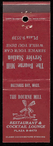 Bourne Mill Restaurant & Cocktail Lounge and Bourne Mill Service Station matchbook cover