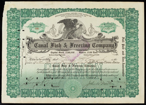 Canal Fish and Freezing Company stock certificate (2)