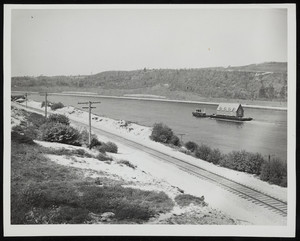 A boat moves down the Cape Cod Canal