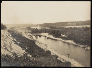 An aerial view of the Cape Cod Canal near the Collins farmhouse