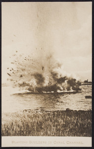 A boulder explodes in the construction of the Cape Cod Canal