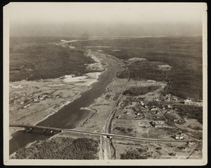 An aerial view of the Cape Cod Canal and its surrounding landscape