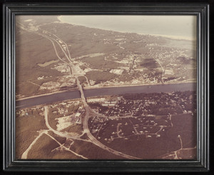 Aerial view of the Cape Cod Canal and Bourne Bridge