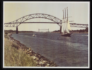 Bourne Bridge with sailboat, motorboat, and railroad bridge