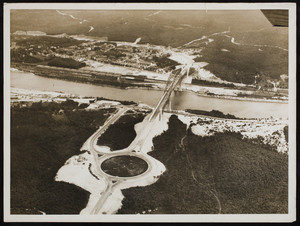 An aerial view of the Sagamore Bridge