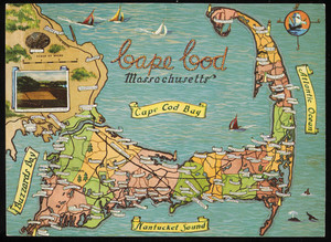 Color postcard of tourist map of Cape Cod, Mass.