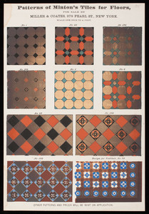 Patterns of Minton's Tiles for floors, for sale by Miller & Coates, 279 Pearl Street, New York, New York