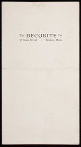 Imagination and skill are your only limitations, The Decorite Co., manufacturers of Decorite, Decoglaze, Decosize, 53 State Street, Boston, Mass.