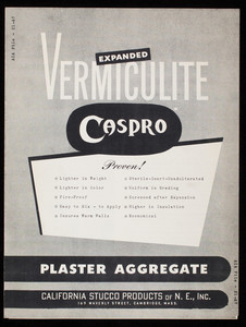 Expanded Vermiculite Caspro Plaster Aggregate, California Stucco Products of N.E., Inc. 169 Waverley Street, Cambridge, Mass.