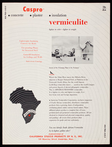 Caspro Vermiculite, manufactured by California Stucco Products of N.E., Inc. 169 Waverley Street, Cambridge, Mass.