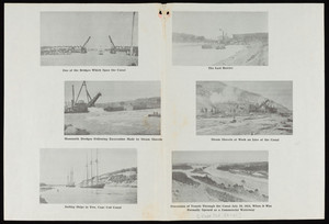 A drawbridge spans the Canal and a large dredge follows excavation by steam shovels and sailboats travel down the Canal and a dredge digs on the last barrier between the bays and steam shovels work on a line of the Canal and vessels process down the Canal on Opening Day
