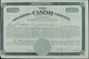 Stockbridge Casino Company stock certificate