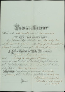 Marriage certificate, William Edward Doane and Elizabeth Adeline Wilson