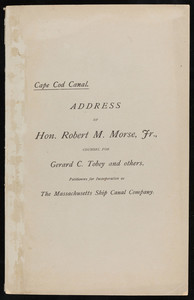 """Address of Robert M. Morse Jr."" (3 copies)"