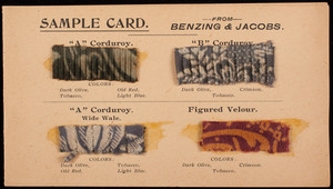 Sample card from Benzing & Jacobs, furniture, Benzing & Jacobs, Buffalo, New York