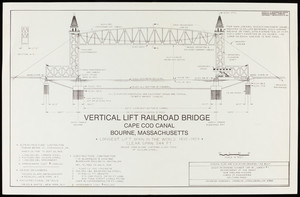 Vertical lift railroad bridge, general plan and elevation drawing