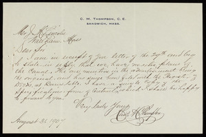 Letter to James M. Lincoln from Charles M. Thompson