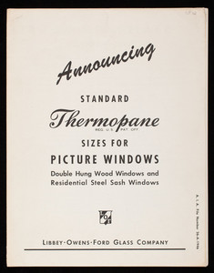 Announcing standard thermopane sizes for picture windows, Libbey-Owens Ford Glass Company, Toledo, Ohio