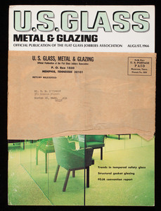 U.S. glass metal & glazing, volume 1, number 2, official publication of the Flat Glass Jobbers Association, U.S. Glass Publications, Inc., P.O. Box 1850, 512 Falls Building, Memphis, Tennessee