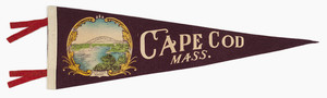 "Pennant: Cape Cod ""New Canal Bridge"" (large; burgundy, white and red)"