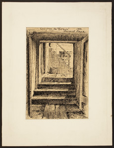 """Exit from the """"Rat Hole,"""" Harvard Place, Boston, Mass., 1890"""