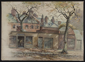 [View of row of houses and stores.]