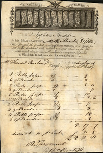 Billhead for Appleton Prentiss, paper hangings, Milk Street, Boston, Mass., dated August 29, 1791