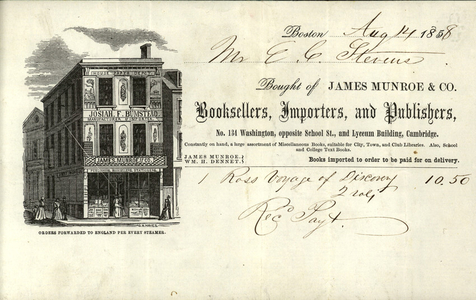 Billhead for James Munroe & Co., booksellers, 134 Washington opposite School St., Boston, Mass. and Lyceum Building, Cambridge, Mass., dated Aug. 14, 1858