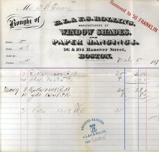 Billhead for E.L. & F.S. Rollins, manufacturers of window shades and paper hangings, 50 Franklin Street, Boston, Mass., dated March 5, 1881