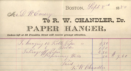 Billhead for R.W. Chandler, Dr., paper hanger, 50 Franklin Street, Boston, Mass., dated September 8, 1880