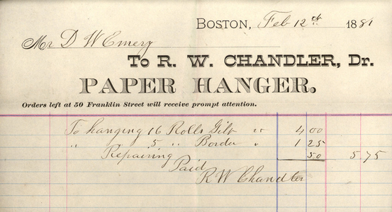 Billhead for R.W. Chandler, Dr., paper hanger, 50 Franklin Street, Boston, Mass., dated February 12, 1881