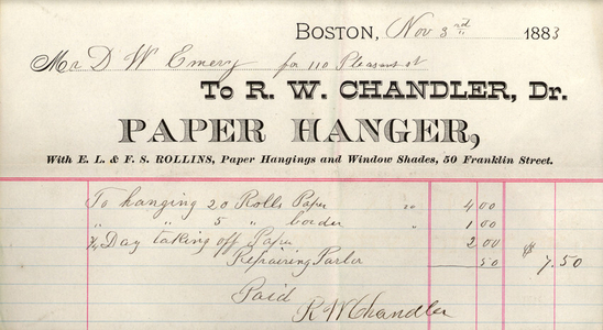 Billhead for R.W. Chandler, Dr., paper hanger, 50 Franklin Street, Boston, Mass., dated November 3, 1883