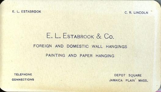 Trade card for E.L. Estabrook & Co., foreign and domestic wall hangings, Jamaica Plain, Mass., undated