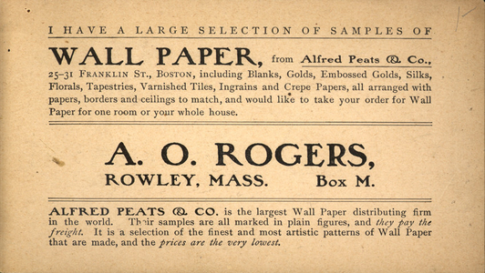Trade card for A.O. Rogers, wall paper samples, Box M, Rowley, Mass., undated