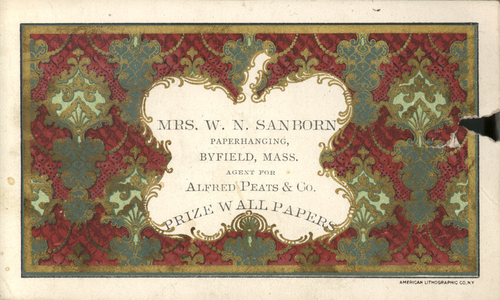 Trade card for Mrs. W.N. Sanborn, paperhanging, Byfield, Mass., ca. 1902