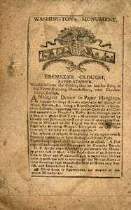 Advertisement for Ebenezer Clough, paper-stainer, Boston, Mass., 1801