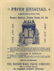 Advertisement for the Boston Wallpaper Company, paper hangings, 20 Summer Street, Boston, Mass., August 1888