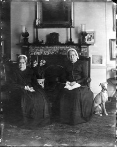 Double portrait of Misses Frances Greely Stevenson and Martha Curtis Stevenson, sitting in chairs, facing front, 32 Mount Vernon Street, Boston, Mass., ca. 1895