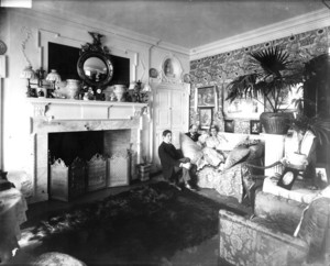 Group portrait of Arthur Little, Anna Palfrey and unidentified man, sitting in the morning room, Arthur Little House, 2 Raleigh St., Boston, Mass., undated