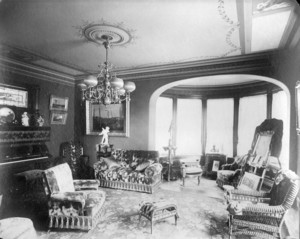 Interior view of unidentified house, parlor, Longwood, Brookline, Mass., 1888-1892