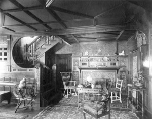 Interior view of unidentified house, front hall, Longwood, Brookline, Mass., 1885-1890