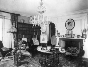 Interior view of Elmwood, the James Russell Lowell House, library, Cambridge, Mass., undated